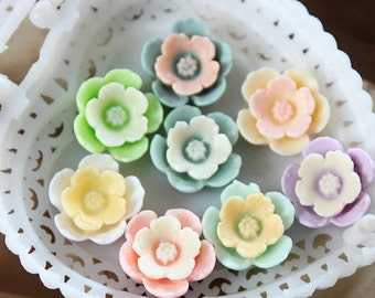 8pcs Wholesale Beautiful  Mix Colorful  Flower Resin Cabochon   -8colors-14mm(CAB-DF-MIXSS)