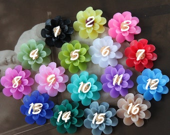 10pcs New  Wholesale Beautiful Colorful Gerbera Flower Resin Cabochon   -18mm -(CAB-EU-)