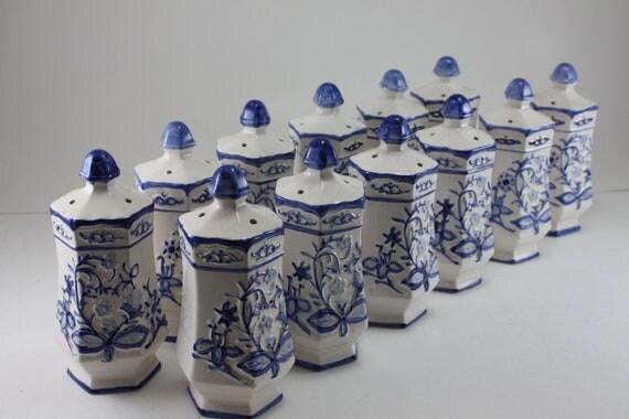 Vintage Blue Amp White Blue Onion Spice Jars Japan
