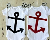 Bodysuit with Anchor - Nautical - Boy or Girl - Eco-Friendly - Red or Blue