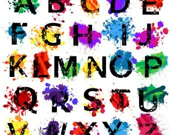 Grunge Alphabet, Font with Graffiti Paint Splatters Letters Clipart Clip Art, Uppercase - Commercial and Personal Use