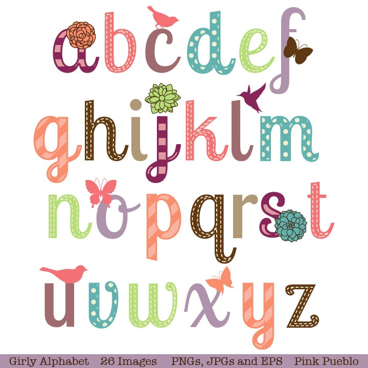 Girly Alphabet Scrapbook Aphabet Font with Birds Butterfly Girly Fonts