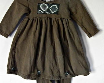 18 Months Dress  Brown with Leggings Hand Dyed