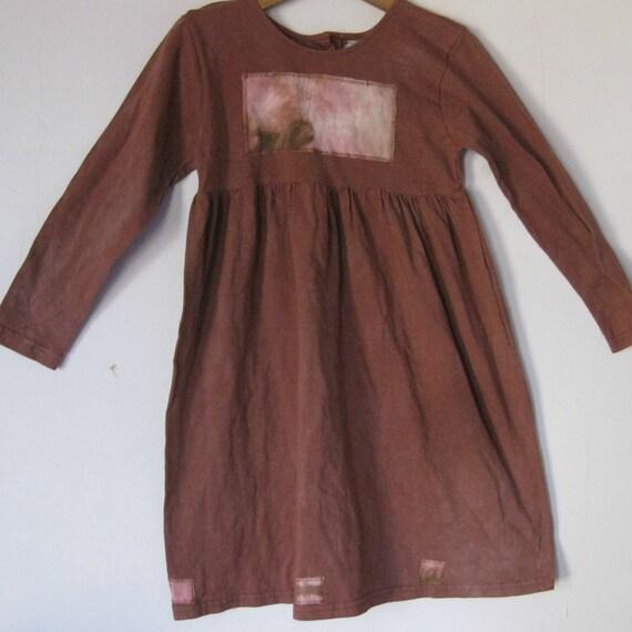Brown Cotton Girls Dress size 6, appliqued tie dye patch,