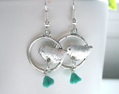Perched Sparrow Dangle Earrings