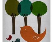 DIGITAL Bird family-postcard sized instant download of original illustration