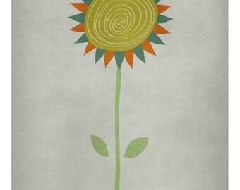 DIGITAL Flower art-postcard sized instant download from original illustration-nursery art