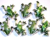 Seven 2 Hole Slider Beads 2 Hole Spacer Beads Or Connector Beads Adorable Silver Plated Green Enamel Frogs Amphibian Garden Nature Beads