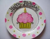 Pink cupcake birthday plate