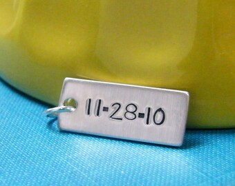 wedding date charm, anniversary, relationship sterling silver handstamped tag one side large