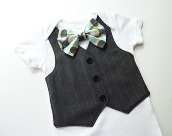 The Classic Dark Gray Striped Tuxedo Bodysuit Vest with Matching Bow Tie