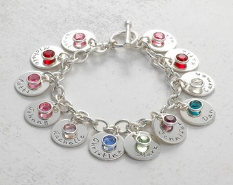 Personalized name Charm bracelet with 11 discs and birthstones  - Mom or Grandma
