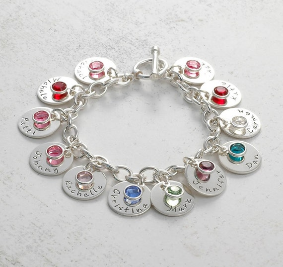 personalized name charm bracelet with 12 discs and birthstones