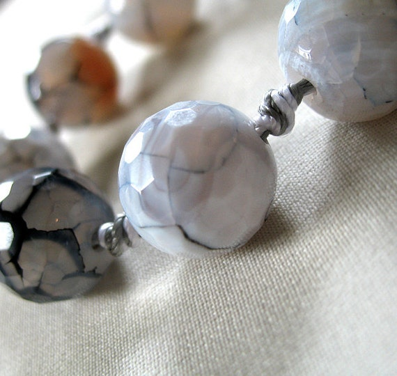 """Micro Faceted Navy Blue White Clear hints of Orange Round Agate Stone Beads, large 14mm, 7"""" knotted strand, 9 beads"""