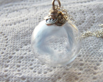 Mom Necklace, New Mom Gift, Angel Necklace, Angel Wings. Glass Globe Pendant