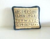Vintage Needlepoint ABC Pillow