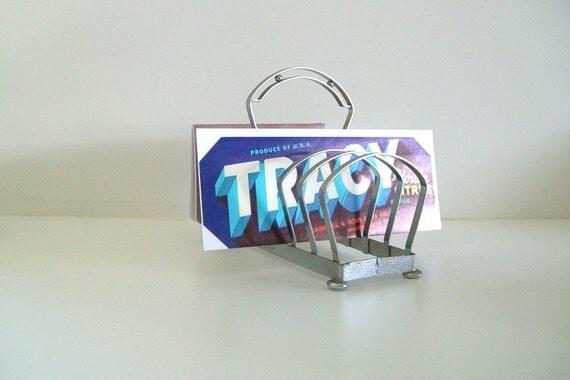 Organize -Vintage Silver Toast Rack Letter Filer