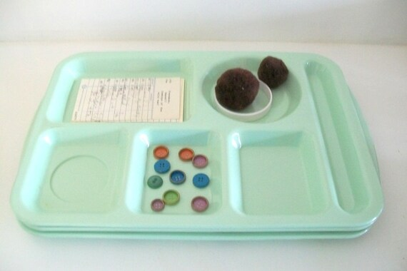 Retro Prolon Melmac Cafeteria/Lunch Trays Mint Green