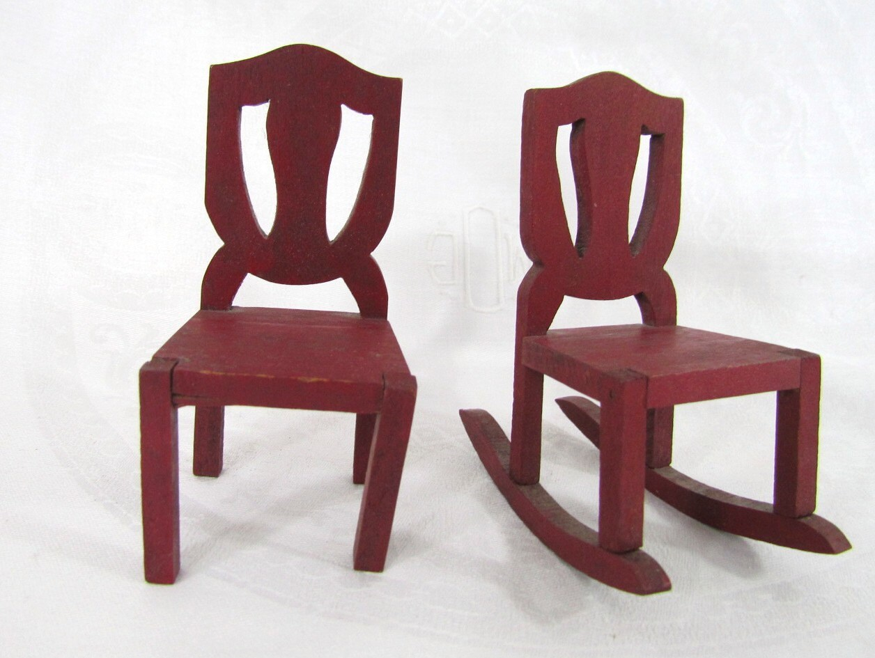 Miniature Red Rocking Chair ~ Vintage miniature dollhouse rocking chair and wooden