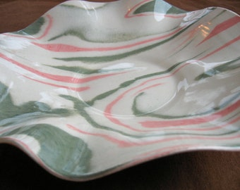Ceramics and Pottery Serving Dish - Modern Handmade Pink and Green Marbled Stoneware - Agateware Pottery Plate
