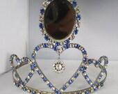 Vintage jewelry tiara silver tone blue and clear  rhinestone wedding beauty queen tiara Presidents sale