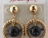 Vintage jewelry earrins by Worthingtone in gold and black dangle pierced earrings