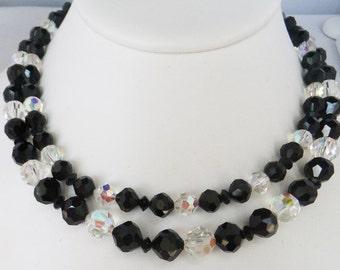 Vintage jewelry necklace Black and clear aurora borealis Swarovki crystal decorativve clasp necklace Sale half price