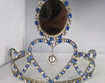 Vintage jewelry tiara silver tone blue and clear  rhinestone wedding beauty queen tiara