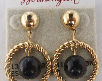 Vintage jewelry earrins by Worthingtone in gold and black dangle pierced earrings Sale half price