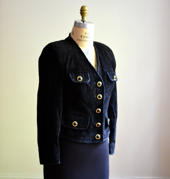90s Vintage Black Suede Jacket Size Small with Gold Buttons// Vintage Black Leather Jacket Blazer With Rope Trim