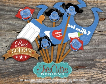 INSTANT PDF DOWNLOAD After Purchase - Baby Shower for Boy - Photo Booth Props - Print Yourself Digital Images