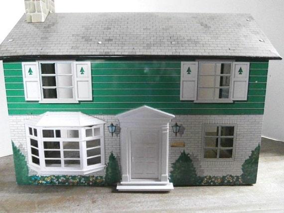 Vintage 2 Story Marx Toy Tin Litho Metal Doll House Circa