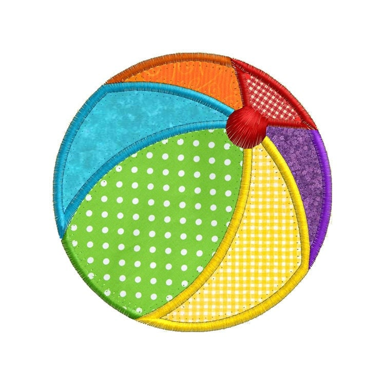 Summer beach ball applique machine embroidery designs for Beach house embroidery design