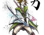 8x10 PRINT Zelda Link Japanese Calligraphy COURAGE