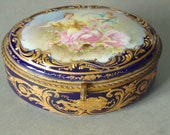 French Porcelain Jewelry Box - Antique French Porcelain Sevres Jewelry Box - Vintage Porcelain Jewelry Casket Box