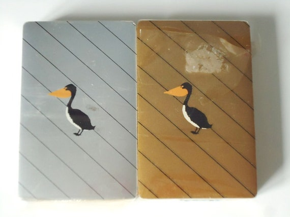 Vintage Art Deco US Playing Card Co. Deck - Vintage Playing Cards USPC CO. - 1930s Art Deco Bird Pelican Duck
