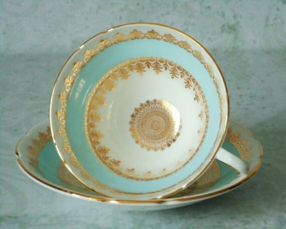 Tea Cups and Saucers - Vintage Teacup and Saucer Set - Mint Green and Gold Teacups