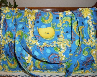 Rag Quilt Purse - Blue Print Fabric Bag - Hand Bag - Shoulder Purse