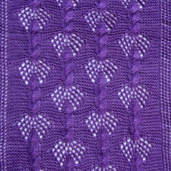 Mesh Lace Knitting Pattern : Knit Wrap Pattern: Mesh and Fan Cable Lace Wrap Knitting