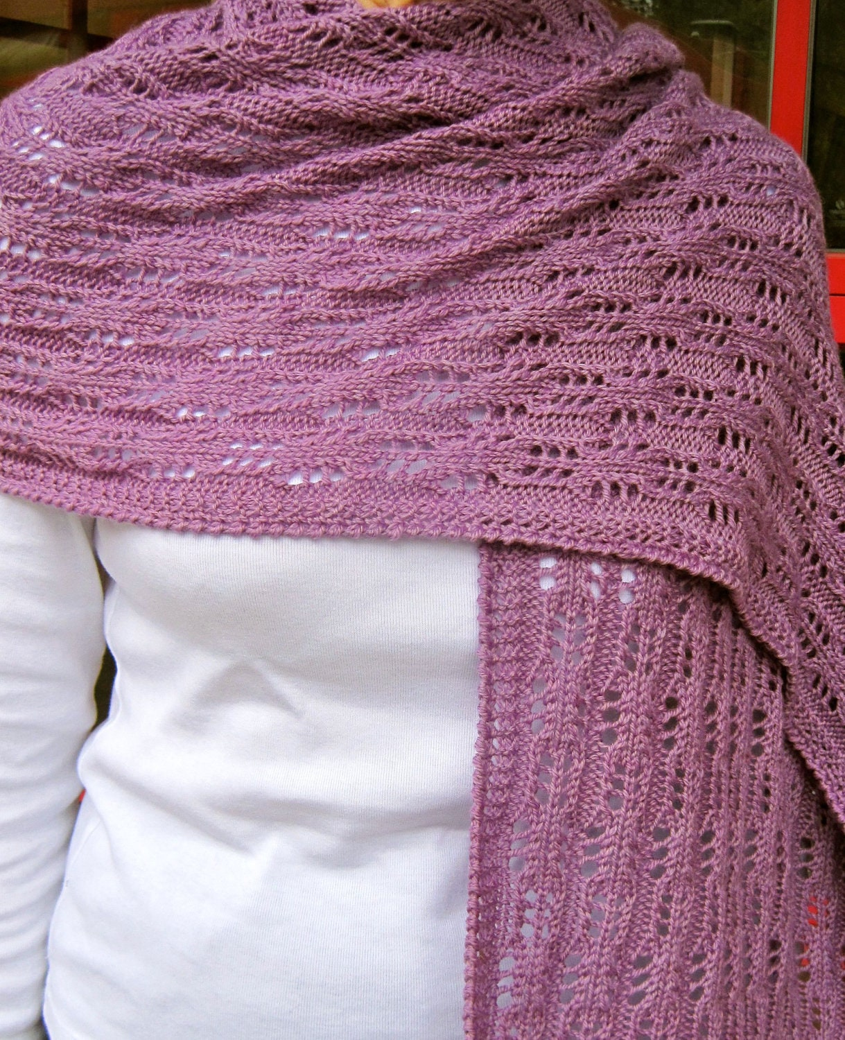 Eyelet Lace Scarf Knitting Pattern : Knit Wrap Pattern: Easy Eyelet Lace Shawl Knitting Pattern