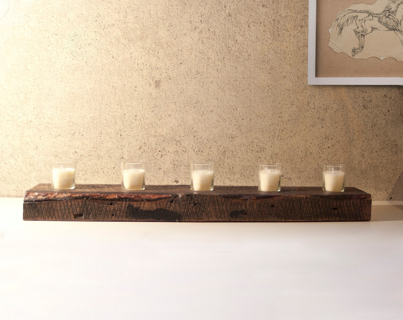 Free shipping reclaimed wood votive candle holder Wood candle holders