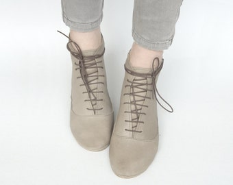Ankle Midi Boots In Buttery Light Taupe Dove Leather Handmade Laced Booties