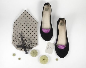 Black Leather Suede Handmade Ballet Flats