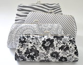 CUSTOM CLUTCH - Gray Clutch -Bridesmaid Clutch- You choose the fabric