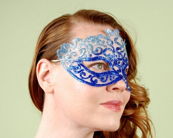 SHEER MASK- Cobalt Skies- masquerade mask, Mardi Gras, tattoo, ballroom, fairy,Venetian, Halloween