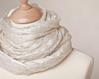 Cobweb Lace Luxury Scarf Felt Shawl Baby Camel Silk Natural White Beige Cream Champagne Wedding bridal fashion eco friendly