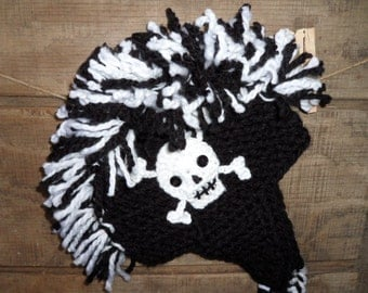 Mohawk Fringe Crochet Hat with skull, Baby Crochet Hat, Toddler, Child, Teen and Adult Crochet Hat