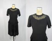 40s Black Dress / Serendipity Charm WW2 Bombshell  / Medium