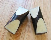 Pair of Vintage 1940's Dark Brown and Cream Carved Bakelite Toggle Buttons