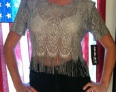 ON HOLD FOR ZAMORAA1 80s  Silver Sparkle Motion Shirt